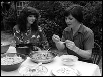 Delia Smith with Kate Bush cooking vegetarian food in 1979