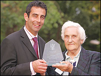 Margaret Borley and footballer Gary Stevens (picture from Tonbridge council)