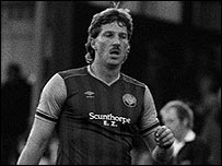 Ian Botham playing football for Scunthorpe