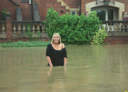 Pub manager up to her waist in water