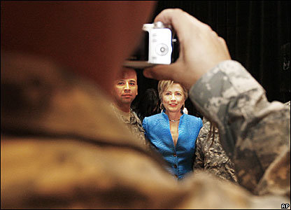Hillary Rodham Clinton meets wounded soldiers who served in Iraq and Afghanistan in Washington.