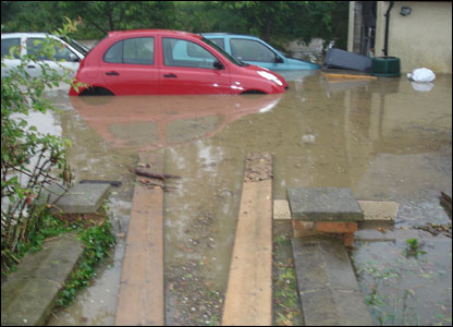 Flooded driveway in Radwinter, Essex [Pic: Faye Hollidge]