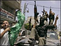 Hamas members celebrate in Gaza City