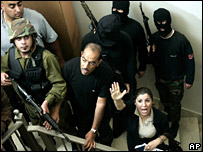 Fatah gunmen inside the Palestinian parliament building in Ramallah