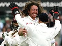 Ryan Sidebottom celebrates
