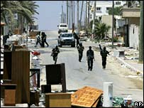 Hamas militants on Gaza street