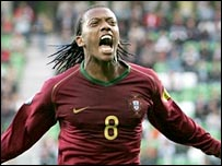 Manuel Fernandes celebrates scoring for the Portugal Under-21 team