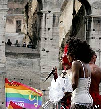 Gay pride marchers in Rome