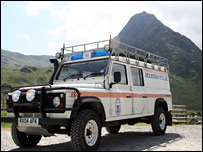 Ogwen Valley Mountain Rescue Team vehicle, with Tryfan in the background