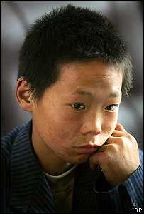 An unnamed boy rescued from a brick kiln in Yunnan, Shanxi