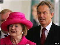 Baroness Thatcher and Tony Blair
