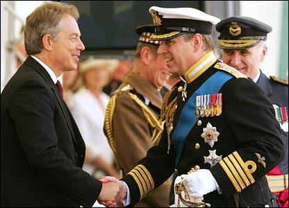 Prime Minister Tony Blair and Prince Andrew