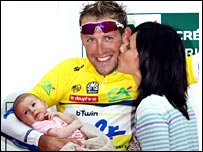 Moreau on the podium with his wife Emilie and their daughter Margot.