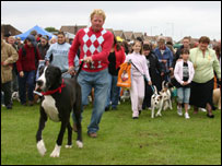 Kevin Potts, from Sunderland, with his Great Dane, the biggest dog on the walk