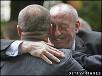 Veterans embracing at commemorations, 17 June 2007
