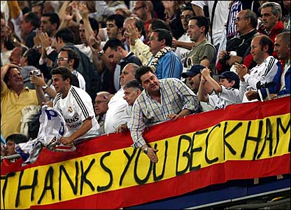 Real Madrid fans unveil a flag giving thanks to David Beckham