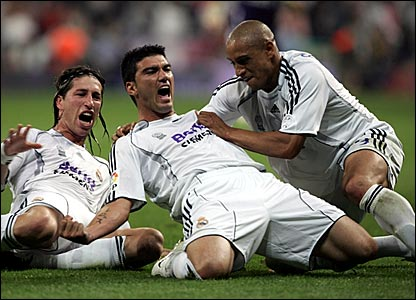 Jose Antonio Reyes (centre) celebrates scoring Real Madrid's equaliser