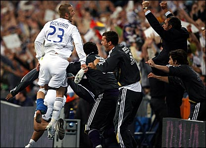 David Beckham (left) leads the celebrations after Mallorca's Angelo Basinas scored an own goal