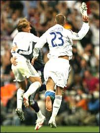 David Beckham celebrates victory