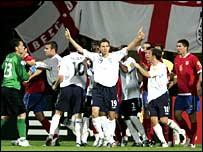 Matt Derbyshire celebrates scoring