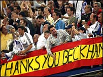 Real Madrid fans salute David Beckham