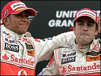 Lewis Hamilton (left) and Fernando Alonso