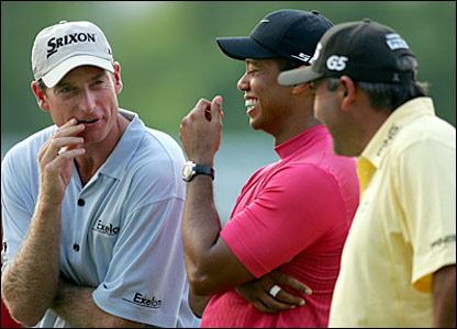 Jim Furyk (left), Tiger Woods (centre), Angel Cabrera (right)