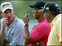 Jim Furyk (left), Tiger Woods (centre), Angel Cabrera (right)