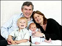 Gordon and Sarah Brown and their two sons