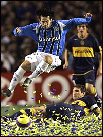 Argentina's Boca Juniors battle with Gremio of Brazil