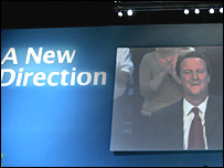 David Cameron and slogan