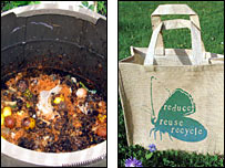 Compost bin and reusable shopping bag
