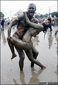 Muddy fans at Glastonbury