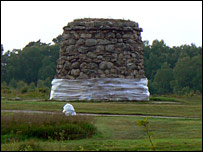 Bubble-wrapped memorial at Culloden Battlefield