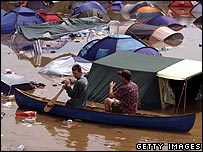 Canoe on floodwater at Glastonbury 2005