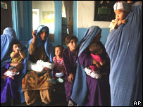 Afghan women wait to have their children vaccinated against polio at a Red Cross Clinic in Kabul