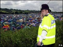 Police officer at Glastonbury Festival