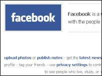 Screengrab of Facebook homepage, BBC