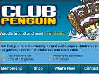 Screengrab of Club Penguin, BBC