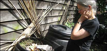 Betsy Reid and compost bins
