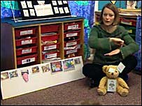 Teacher with George the teddy