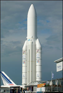 Model of the Ariane 5 at the Paris Air Show (BBC)
