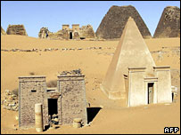 Kush pyramids in Merowe, northern Sudan