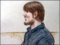 A court sketch of Stuart Harling