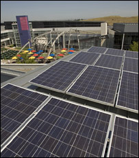 Solar panels at Google headquarters in Mountain View, California (Google)