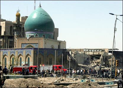 Scene of the blast near the al-Khilani mosque in Baghdad, Iraq