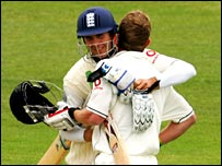 Michael Vaughan and Paul Collingwood celebrate England's victory