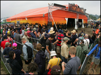 Orange's Chill n' Charge tent at Glastonbury 2005