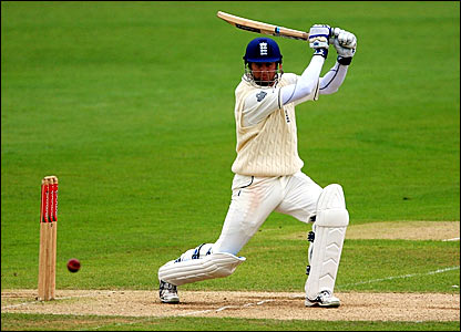 Michael Vaughan hits a ball through point