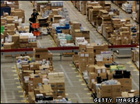 Packages of goods at Amazon's Milton Keynes base
